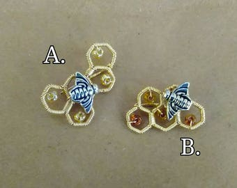 Gold Filled Wire Wrapped Five Chaimbered Honeycomb and Bee Pin