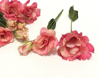 10 Rose Pink Artificial Lisianthus Flowers and Buds - Artificial Flowers, Silk Flowers, Flower Crown, Hair Accessories, Millinery, Tutu, Hat