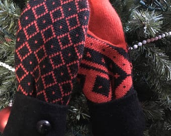 Red andBlack Print Ladies Mittens Made from Recycled Wool Sweaters
