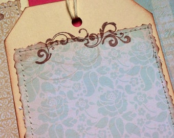 Handmade large hang-tags: junk journal, scrapbook, gift card