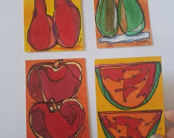 Colorful Snack- SET of four original aceo drawings