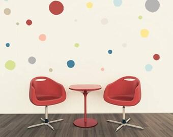 Home Decor, Rainbow Polka dots, Rainbow decal, Polka dots, Kids room, Modern Nursery Wall Decal, vinyl hand drawn dot, Polka Dots Decals art
