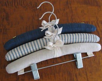 Baby Hangers, Padded Hangers, Baby Boy Hangers, Baby Boy Shower Gift, Boy Clothing Hangers, Boy Ticking Stripe Hanger Set of 3, Boy Hangers