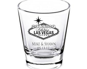 Wedding Favors, Las Vegas Wedding Shot Glasses, Wedding Gift, Bridal Shower Gift, Bachelorette Party Shot Glasses, Bachelorette Party Gift.