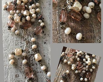 SALE New French Style Finery Baroque pearls shades of TEA ROSE Crystal Beads  pave crystal rhinestone Alabaster crystals