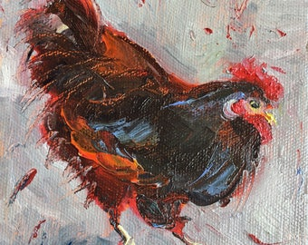 "Rhode Island Red  Hen, Chicken Art, Rooster Painting, Original Oil Painting, Chicken Painting Ingrid Bolton, Small Mini Painting, 5""x5"","