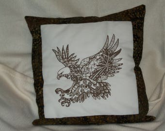 eagle machine embroidered pillow cover, variegated thread eagle