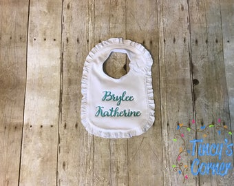 Ruffle Bib with Monogrammed Name