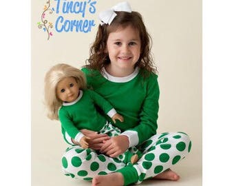 FREE PERSONALIZATION - Pre-Order - Green/White Polka Dot Christmas Pajamas - Monogrammed and/or Appliqued