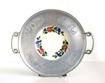Hand Wrought Aluminum Tray / Cromwell platter with Shenandoah Ware plate / Large serving platter