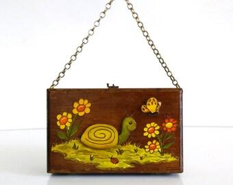 Vintage Turtle Box Purse / Wooden Kit Handbag
