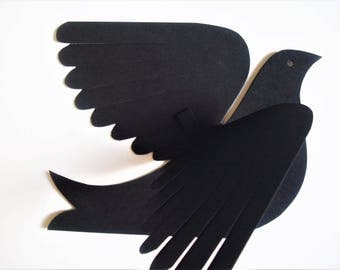 Paper Birds--Six Small Black Swallows