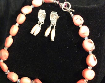 Sterling Silver Swarovski Crystal and Pink Coral Set