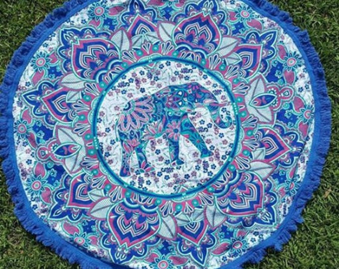 Blue with Pink Accents Elephant Mandala Roundie with Blue Fringe Mandala Tapestry Beach Blanket Yoga Meditation Mat Dorm Decor Hippie