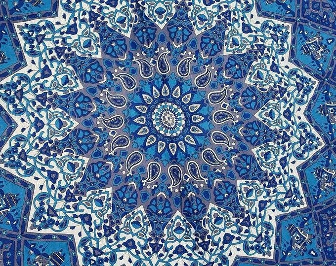Eyes of the World Blue Mandala Roundie with White Fringe Mandala Tapestry Beach Blanket Yoga Mat Meditation Mat Dorm Decor Hippie Tapestry