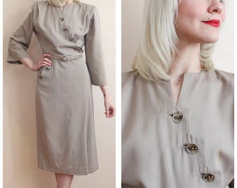1940s Dress // Crane-Abrams Wool Gab Dress // vintage 40s dress
