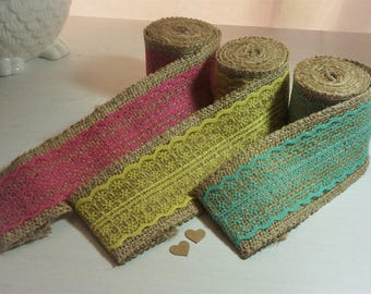 2M Natural Jute & Lace Ribbon 6cm wide *Blue/Pink/Yellow *Shabby Chic/Vintage*