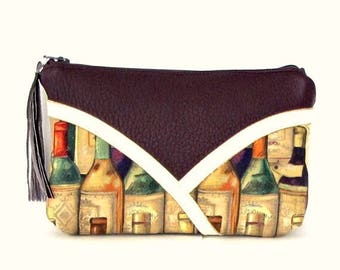 ON SALE Leather Makeup Bag / Gift for Wine Lovers / Wine Gifts / Gift for Her / Makeup Bag / Cosmetic Bag / Leather Makeup Bag / Leather Mak
