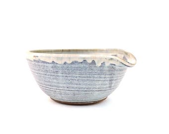 Mixing bowl vintage pottery cooking baking cookware kitchen decor clay handmade pottery blue Christmas