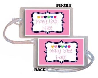 Backpack Tag, Luggage tag, Diaper Bag ID, Kids backpack tag, Back to school, School bag tag, backpack identification, Mackenzie Hearts tag