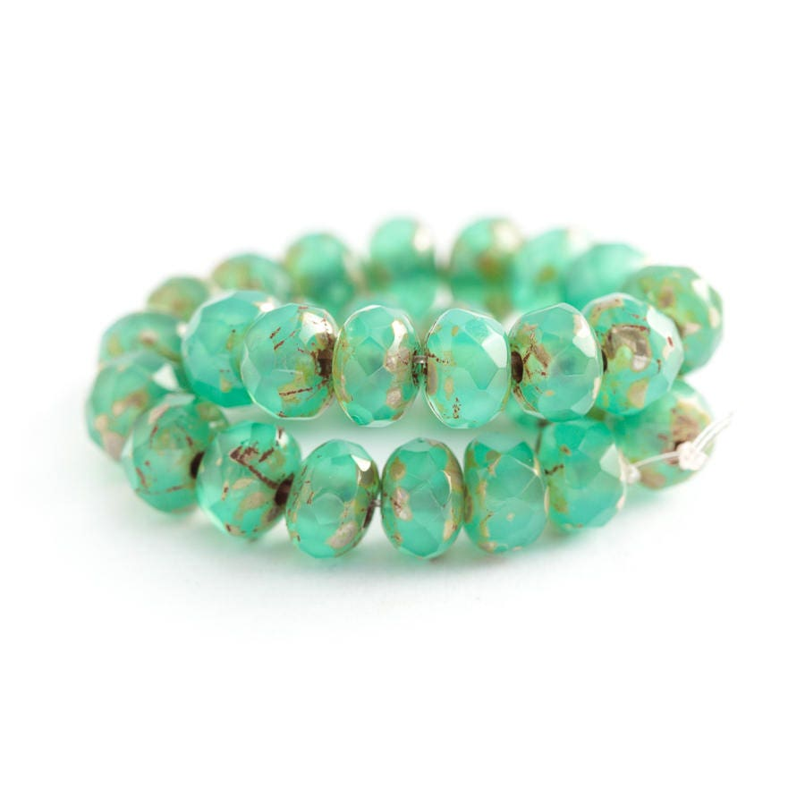 Emerald Bead Beads: Emerald Green Opal Beads Glass Beads Picasso Rondelle Beads