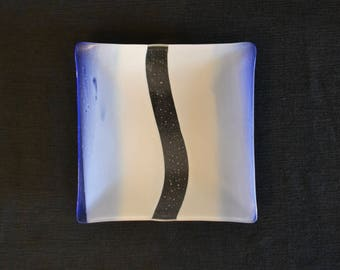 Fused Square Glass Dish in Blue, White, and Clear