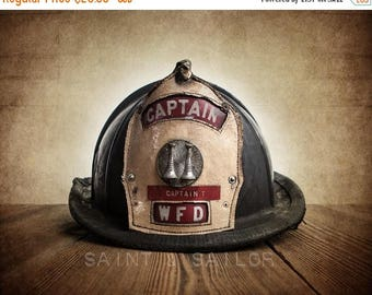 FLASH SALE til MIDNIGHT Vintage Fireman helmet Photo Art Print, Captain Wfd, 12 Sizes Available from Print to Mounted Canvas