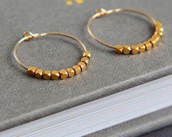 SALE, Hoop Earrings, Gold Hoop Earrings, Gold nugget beads earrings, Gold Vermeil Tiny Nugget Beads Earrings, Nuggets Earrings, Gift for Her