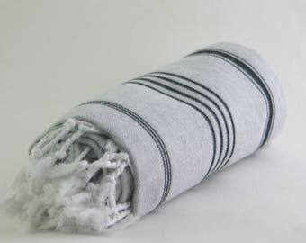 sale 50% off peshtemal vs. towel, turkish towel, sport towel, turkish beach towel, gray & black towel, turkish blanket, hammam towel, throws