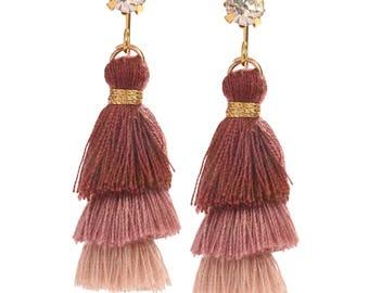 Plum Purple Mauve Tiny Tassel Earrings