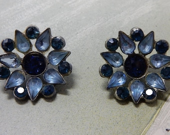 2 Matching Vintage Blue Rhinestone Buttons    OBL8