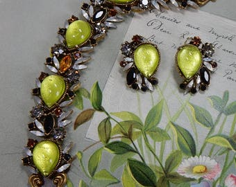 Signed FLORENZA Foiled Cabochon Bracelet & Earrings Set    OCG5