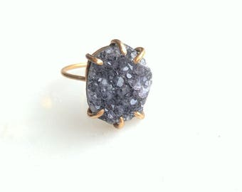 Amethyst and Gold Ring - amethyst ring - gemstone ring - purple and gold ring - boho ring - bohemian ring - birthstone ring - unique ring