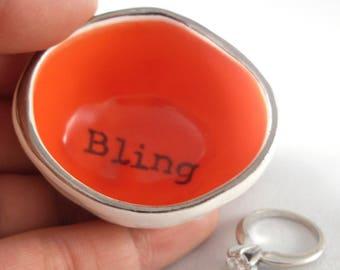 wedding gift idea, custom colored glaze ceramic wedding ring holder, personalized gift for wedding anniversary, custom bridal shower gift