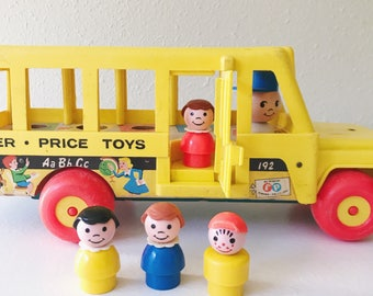 Vintage 1965 Fisher Price Little People School Bus and People Back To School