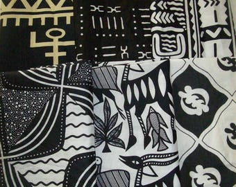 "Best Sellers Black and White African print fat quarter bundles 18""x22"" inches 6 pack/quilting/bangles, clutches/ African craft fabrics"