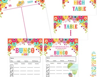 Fiesta Theme Bunco Night Score Card with Fiesta Flowers, Margaritas, Sombreros, Bunco Night Printable Table Markers-Tally Sheet
