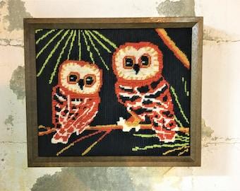 Vintage Needlepoint Owl Mod Pair Framed