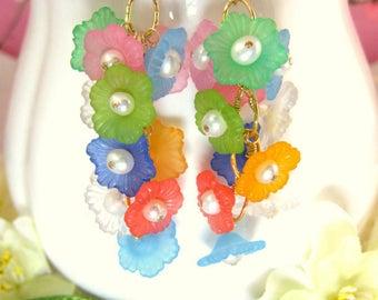 Rainbow hibiscus pearl cluster earrings, rainbow sakura gold chain dangle earrings, rainbow floral gold earrings