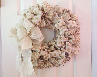 Bow Wreath - Ribbon Door Decor Beige Cream and Gold Wall Decor
