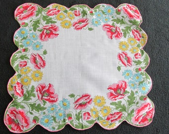 H5 – Vintage Cotton Print Handkerchief Poppies Daisies Floral