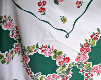 Vintage Tablecloth 1950s-1960s Floral Green Red Pink Size  61 X 50- Farmhouse kitchen Summer entertaining picnic tablecloth