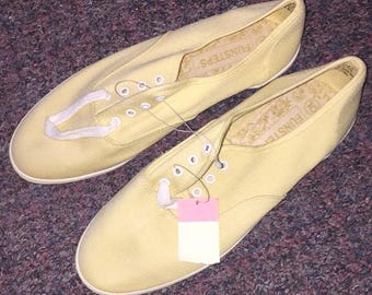 Vintage Women's Keds Made By Funsteps Size 10 Yellow White New With Tags Bon Ton