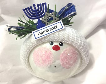 HANUKKAH GIFT Ornaments Star Menorah Blue Hand Painted Handmade Personalized Themed by Townsend Custom Gifts - BR