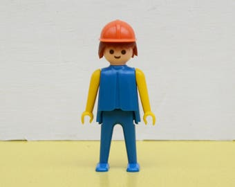 Vintage Playmobil Figure, 70's Hard Hat Wearing Playmobil Person, Orange Hat, Blue Body Playmobil Character, Geobra Playmobil