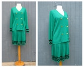 80s Skirt Suit  Santana Knit Suit Laura Petites Alyzia St John Style Knit Dress Nautical Dress Retro Gatsby Dress Medium  38 Made USA  W3D