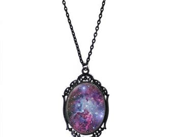 "FLASH SALE Purple Galaxy Cameo Necklace with Black Filigree Frame on 18"" Chain"
