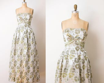 1950s Brocade Gown / 50s Jean Allen Strapless Evening Gown