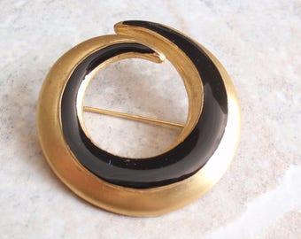 Gold Black Swirl Brooch Bright Gold Black Enamel Modernist Vintage V0280