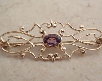 Amethyst Brooch Fancy Gold Filled Vintage V1036L